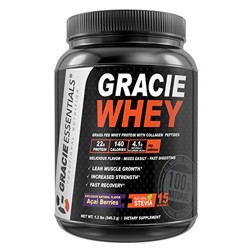 100% Natural Grass Fed Whey Protein Powder with Collagen Peptides & Acai Berries Exclusive Nutrition Formula Designed for Fighters by Gracie Essentials (Berry Whey)