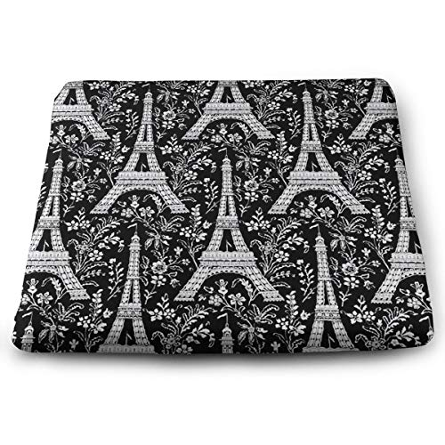 Unique Chair Pads, Paris Eiffel Tower Floral Black and White Non-Slip Office/Car Chair, Bar Stool Seat Cushion, Thin & Breathable Seat Pad, Super Comfy Square Cushion Fit Indoor/Outdoor Sitting ()