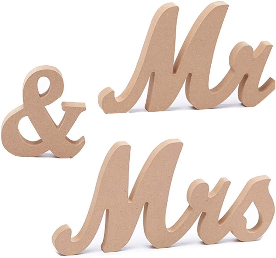 Awtlife DIY Vintage Style Wooden Mr & Mrs Letters Decor for Wedding Decoration Table Decor Xmas Gift