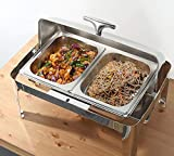 Chafing Dishes and Warmers, Buffet Warmer and Server, Commercial Food Warmers Buffet and Plate Warmer, Stainless Steel, Alcohol Heating, Keeps Food Warm in Catered EventsFull Size with 1/2 Inserts