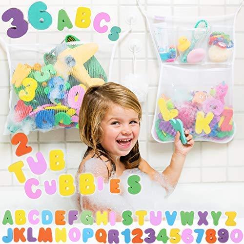 (Tub Cubby Bath Toy Organizer, Double Set, 2 Quick Dry Mesh Bags Plus Foam Letters Rubber Ducky)