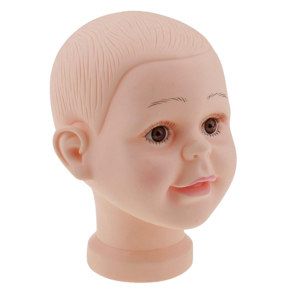 MagiDeal 2 Stücke//Set Kinderkopf Schaufenster Deko Kopf Kinder Mannequin Model Puppe - Hüte Mütze Brille Perücke Schaufensterpuppe + Styroporkopf Schaufenster Dekokopf Schaufenster Anzeige Modellkopf STK0119369054