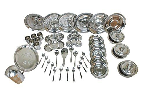 ROYAL SAPPHIRE Round Heavy Stainless Steel Dinnerware Set 51 Pieces