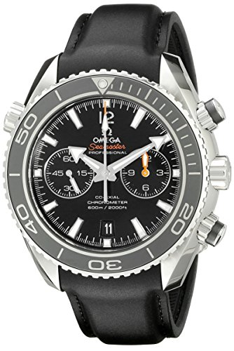 Omega Men's 23232465101003 Stainless Steel Swiss Automatic Watch With Black Leather Band - Omega Rubber Band