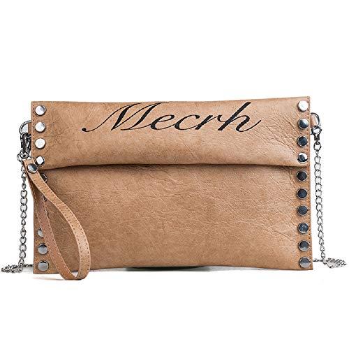 Bag Brown Chain Bag Ladies' Fashion Handbag ZHRUI Bag Messenger Bag Fold Black Vertical Color Evening Studded Elegant Clutch Bag with Shoulder Bag 1wvxP7Bqv
