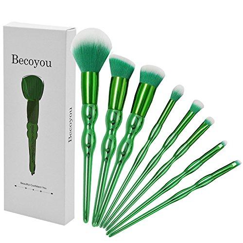 Becoyou Makeup Brushes set, 8 in 1 Green Contour brushes for Face Powder Foundation Concealer Eyeshadow Blush Cosmetics Blending Brush Tool