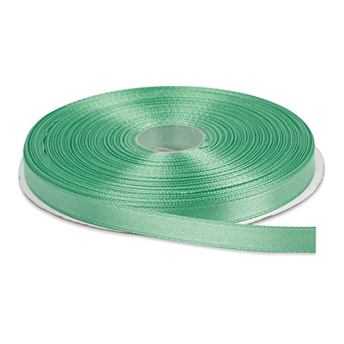 Topenca Supplies 3/8 Inches x 50 Yards Double Face Solid Satin Ribbon Roll, Aqua Blue