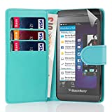 32nd Book wallet PU leather case cover for Blackberry Z10 - Light Blue