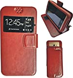 BKDT Marketing Leather finish Flip Cover Case Stand Diary Style for MICROMAX Canvas Pace 4G Q416 with Dislay Window - Brown