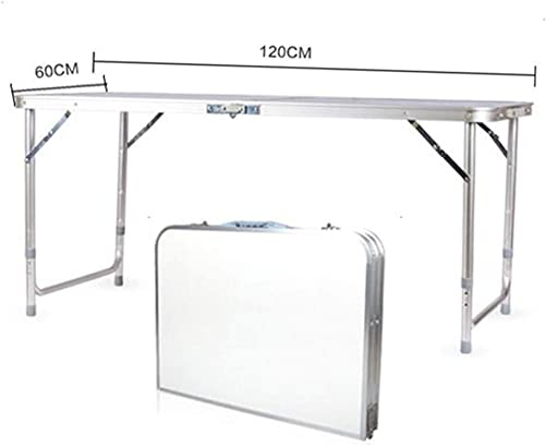 4 feet Aluminum Alloy Multifunctional Folding Table, Height Adjustable Portable Folding Table, Picnic, Event, Indoor and Outdoor