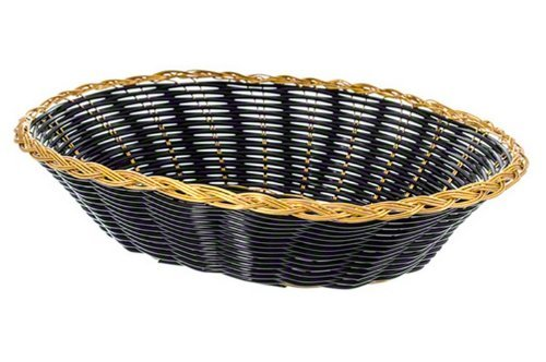 Update International (BBV-97) 9'' Oval Black Woven Bread basket, Case of 12