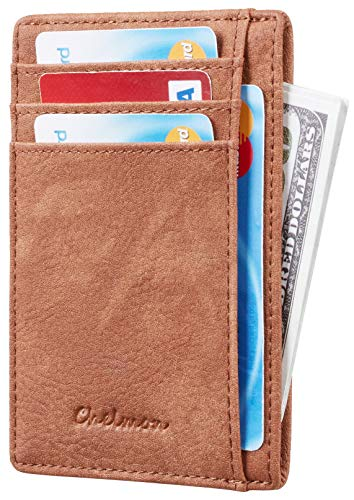 Chelmon Slim Wallet RFID Front Pocket Wallet Minimalist Secure Thin Credit Card Holder (Vinti Brown) (Front Pocket Wallet)