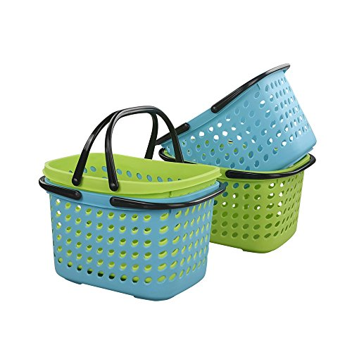 Wekiog Plastic Handle Baskets, Small Organizer Basket(4 Packs) (Plastic Baskets With Handles)