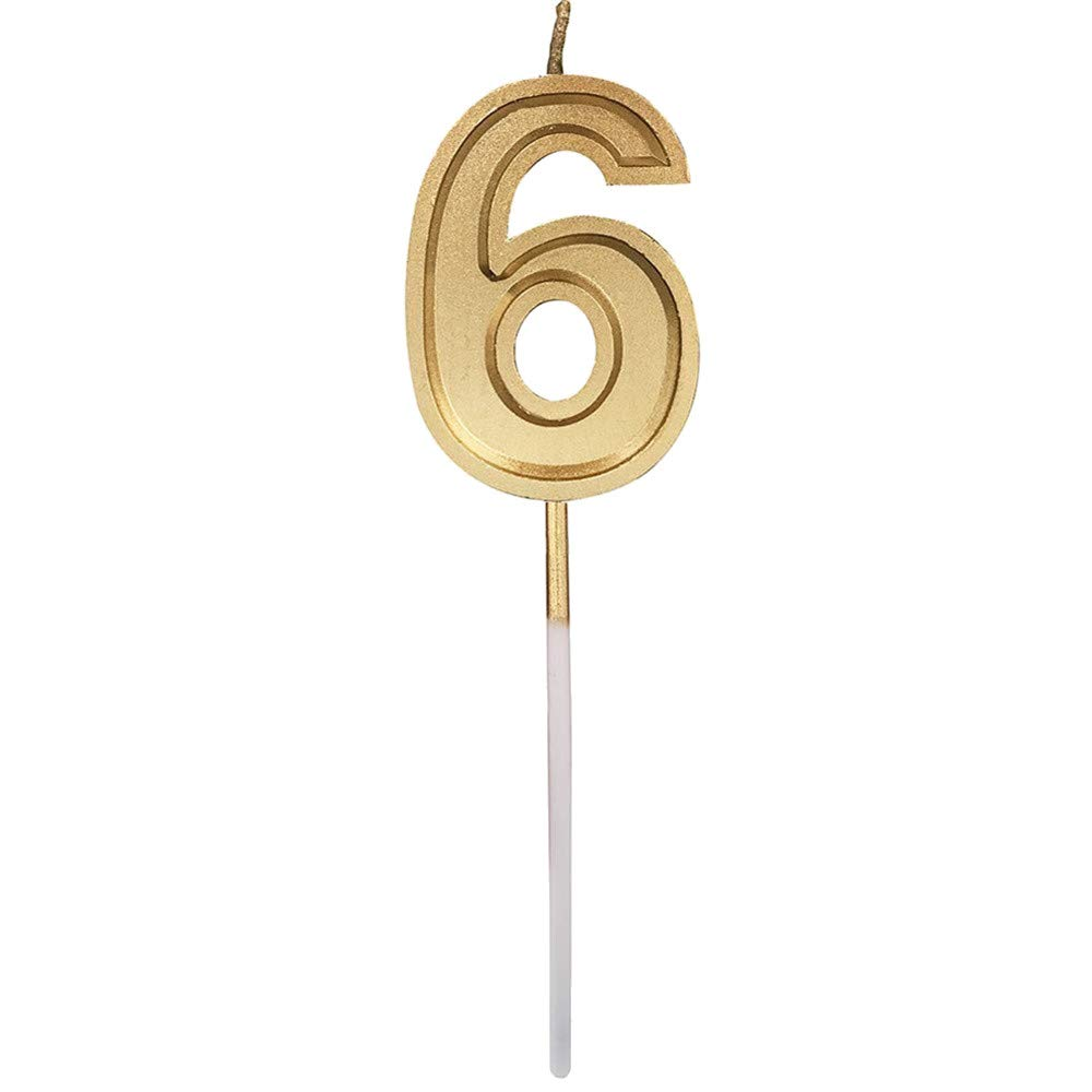 Fxbar, Gold Number Birthday Numeral Candles Cake Decor Birthday Candles 0-9 Molded Number Candlesc (F)
