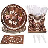 Disposable Dinnerware Set - Serves 24 - Wedding Party Supplies Mr. and Mrs. Rustic Wedding Themed Design, Includes Plastic Knives, Spoons, Forks, Paper Plates, Napkins, Cups
