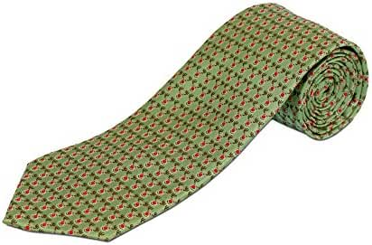 100% Silk Extra Long Christmas Tie - Green with Rudolph Holiday (Available in 63