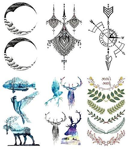 Oottati 6 Hojas Pequeño Lindo Tatuaje Temporal Tattoo Luna Totem ...