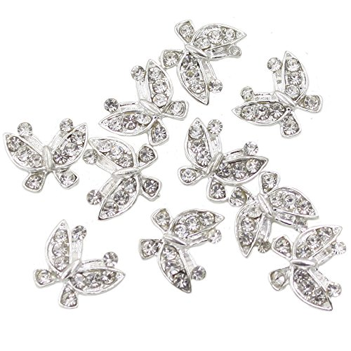 Polytree 10pcs 3d Glitters Rhinestone Alloy Bowknot DIY Decal Nail Art Tips Stickers (Butterfly)