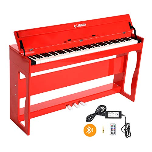 LAGRIMA 88 Keys Weighted Hammer Action Digital Piano with Bluetooth Remote Control, Bundle w/Music Stand+Power Adapter+3-Pedals+Instruction Book, Headphone/Midi/USB Jack, Red