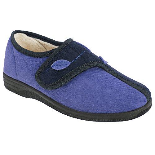 Sleepers Damen Abigail Hausschuhe / Pantoffeln mit Klettverschluss Marineblau/Blau