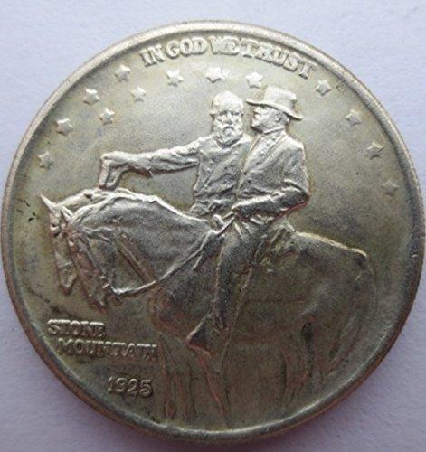 - RARE Antique USA United States 1925 Stone Mountain Half Dollar Silver Color Coin
