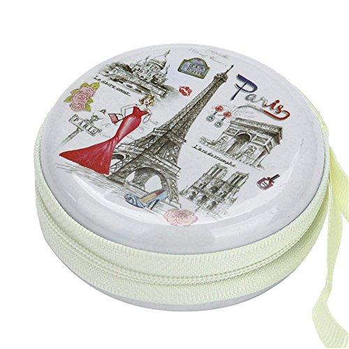 Stealodeal Round Aluminium Zipper Headphone Case Paris PC-05 (Multicolor) (All Earphones)