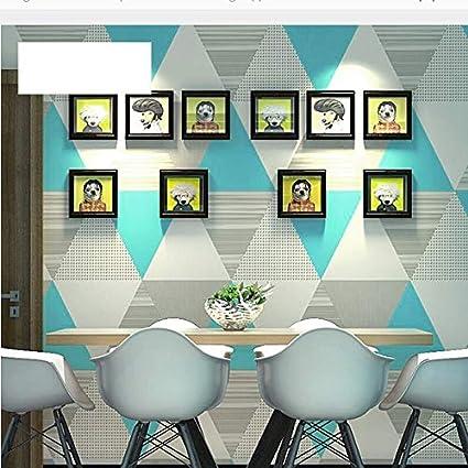Papel Pintado geom/étrico Moderno Rollo Tri/ángulo Colorido Vinilo Nordic Papel de Pared Decoraci/ón de la Sala de Estar Gris 10Mx53Cm Wp55503 Verde Azulado Amarillo