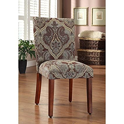 Etonnant HomePop Blue And Brown Paisley Parson Chairs (Set Of 2)