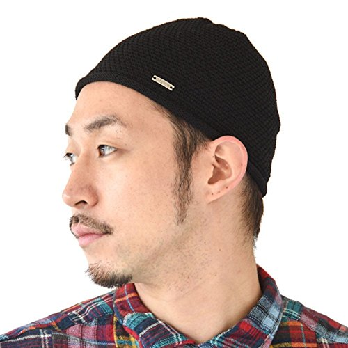 Charm Mens Skull Cap Knit - Linen Kufi Hat Japanese Fashion All Season Muslim Prayer Hat Black