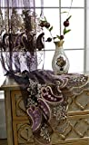 AiFish European Style Embroidered Chili Peppers Elegant Lace Sheer Curtains Window Treatment Drape Panels Rod Pocket Top Decorative Voile Tulle Curtains for Living Room 1 Panel Purple W75 x L96 inch