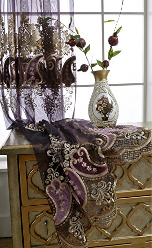 AiFish European Luxury Embroidered Chili Peppers Elegant Lace Sheer Curtains Window Treatment Drape Panels Rod Pocket Top Decorative Voile Tulle Curtains for Living Room 1 Panel Purple W75 x L96 (French Lace Curtains)