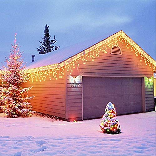 GreenClick Window Curtain String Lights, 480 LEDs Fairy String Lights for Wedding Party Garden Bedroom Outdoor Indoor Decorations,Waterproof, 8 Lighting Modes, UL Listed Adapter (Warm White)