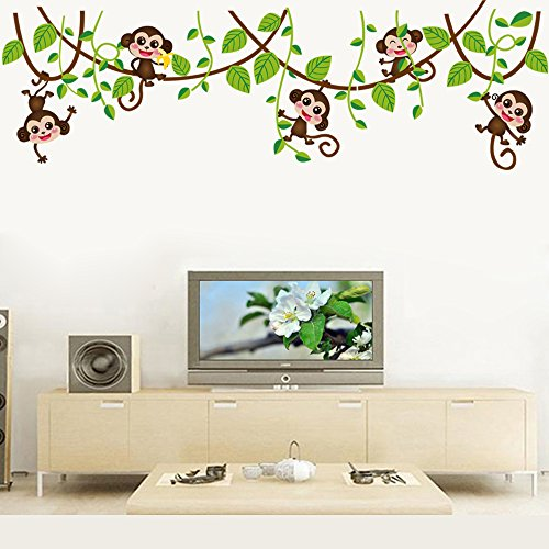 Aiwall 7247 Monkeys and Vine Wall Stickers Home Decals Decor Mural Decorative Nursery Super For Girls and Boys Children's Bedroom