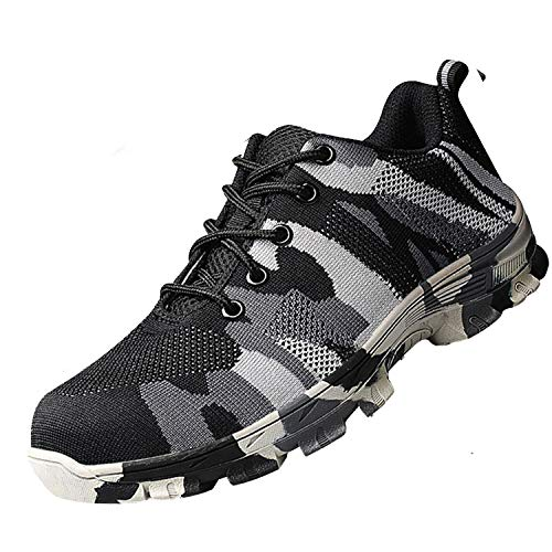 SUADEX Steel Toe Shoes Men, Women's Work Safety Industrial and Construction Sneakers, Outdoor Hiking Trekking Trail Composite Shoes, Grey-42