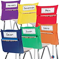 Really Good Stuff Store More Grouping Chair Pockets – Six Bright Rainbow Colors – Pocket Chair Organizer Keeps Students Organized and Classrooms Neat (Set of 12)