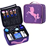 Joligrace Makeup Bag Portable Travel Makeup Train Case Cosmetic Storage Organizer with Dividers for Girl Cosmetic Make Up Tools Toiletry Jewelry Digital Accessories - Unicorn