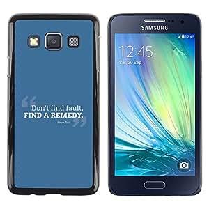 TopCaseStore / la caja del caucho duro de la cubierta de protección de la piel - Fault Find Remedy Look Quote Positive - Samsung Galaxy A3 SM-A300
