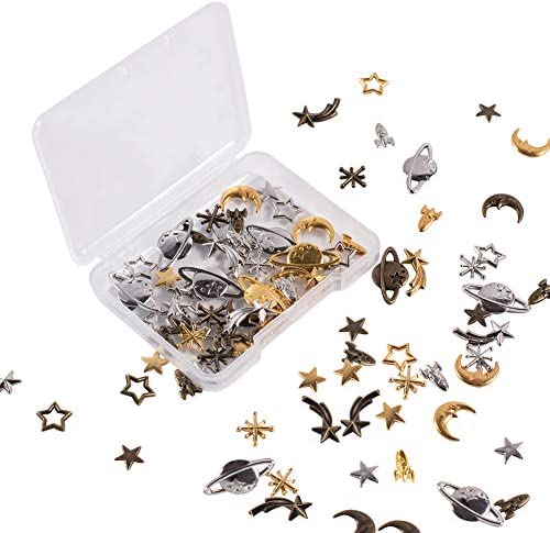 OLYCRAFT 168pcs Cosmos Themed Resin Fillers 3-Color Alloy Epoxy Resin Supplies Star Moon Spaceship Filling Accessories for Resin Jewelry Making
