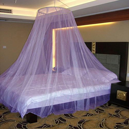 Neruti Enterprise Nylon Round Mosquito Bed Net Canopy Circular Curtain   Keeps Away Insects & Flies (Purple)