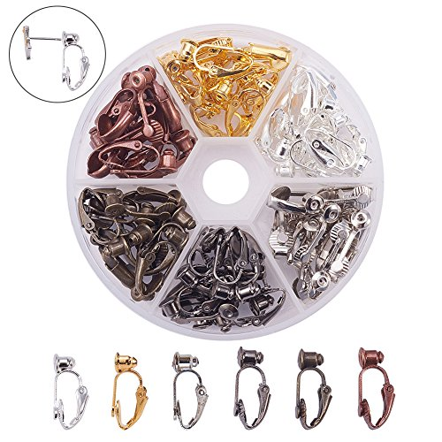 PandaHall Elite 36 Pcs Brass Clip-on Earring Converter Component 19x6x9mm for Non-Pierced Ears 6 Colors