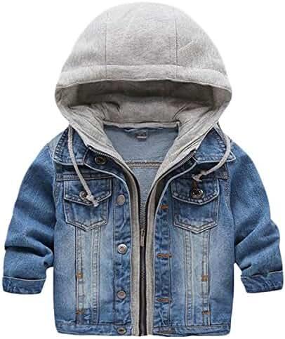Kid Baby Boys Hooded Lapel Zipper Pocket Denim Jackets Coats Outwears