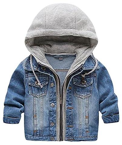 Kid Baby Boys Hooded Lapel Zipper Pocket Denim Jackets Coats Outwears (3-4Years, Blue) - Denim Coat Jacket