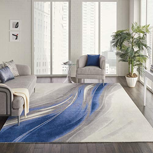 - Nourison TWI28 Twilight Modern Abstract Ivory Grey Blue Area Rug 9'9