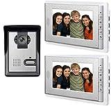 AMOCAM Wired Video Doorbell System, 7 Inches LCD Monitor Video Door Phone Kits, Video Intercom Support Monitoring, Unlock, Dual-Way Door Intercom for Villa Home, 1-IR Camera 2-Color Screen
