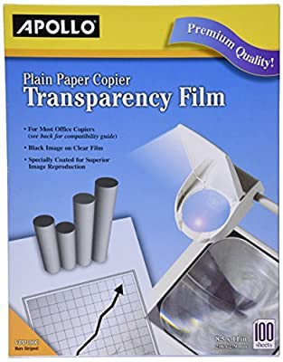 Apollo Plain Paper Copier Film, 8.5 x 11 Inches, Clear Sheet and Black Image, 100 Sheets per Box