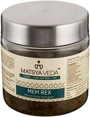 Matsya Veda Memrex - Brain Supplement with Brahmi, Shankhpushpi & Kesar - 250 GMS - Memory Booster