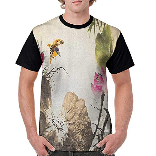 Summer Casual O-Neck,Art,Bird Jumping into a Lotus in a Gloomy Setting Circle of Life Chinese Culture, Cream Taupe Hot Pink S-XXL Baseball Short -