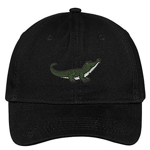 Trendy Apparel Shop Alligator Embroidered Cap Premium Cotton Dad Hat - Black
