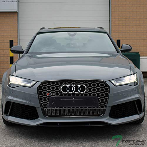 Audi A6 Front Grille - Topline Autopart Glossy Black RS-Honeycomb Mesh Front Hood Bumper Grill Grille ABS For 12-15 Audi A6 C7