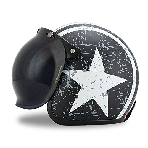 Woljay 3/4 Open Face helmet, Motorcycle Helmet Flat Rebel Star Graphic with Bubble Shield White + Black (M)
